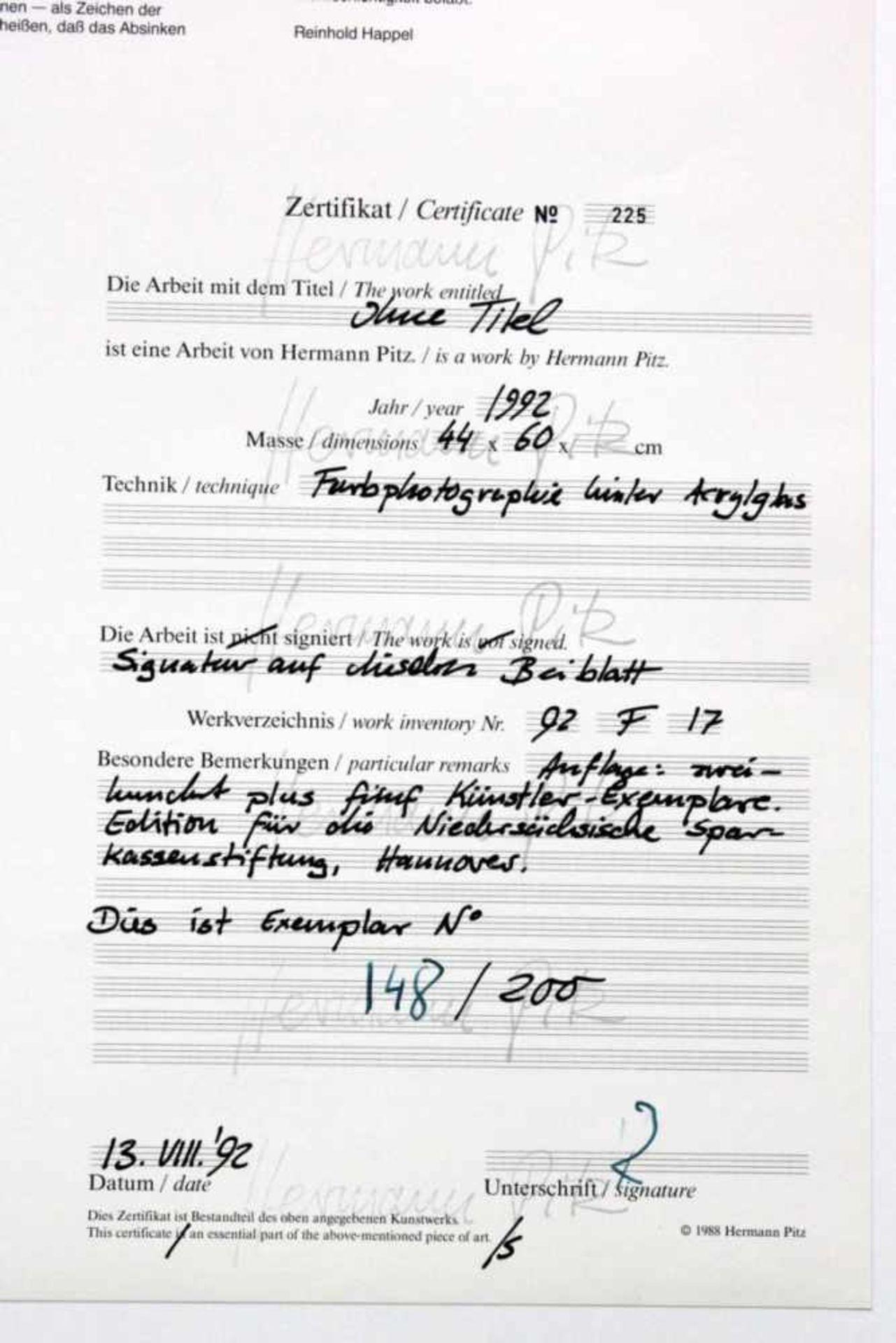 Pitz Hermann (geb. 1956) Ohne Titel 1992 Farbfotografie hinter Acrylglas beiliegendes Zertifikat, - Bild 2 aus 3