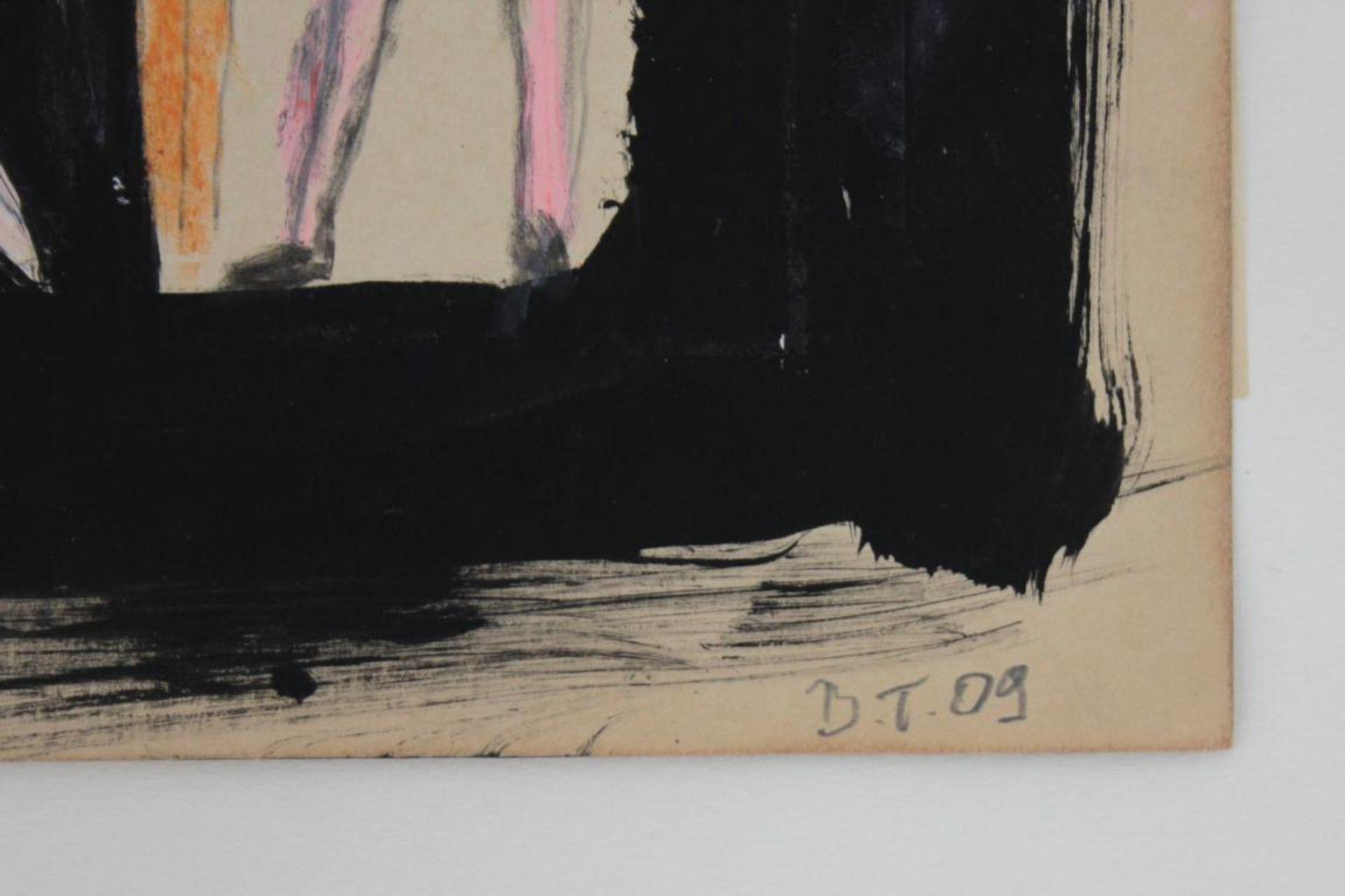 Thanner Billi (geb. 1972) Akt 2009 Mischtechnik auf Karton handsigniert, gerahmt 24 x 19 cm - Bild 2 aus 2