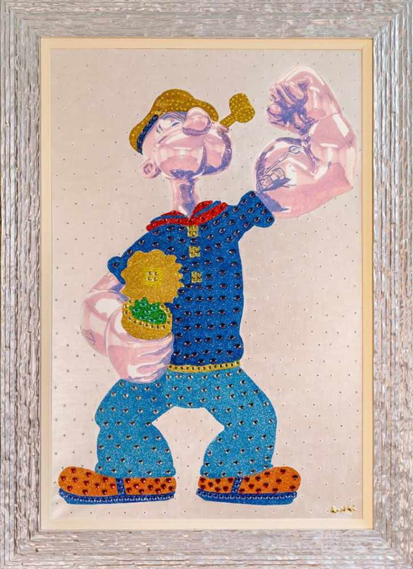 Los 60 - Dondé Daniele (geb. 1950) Popeye Mixed Media auf Leinwand handsigniert rückseitig 130 x 100 cm