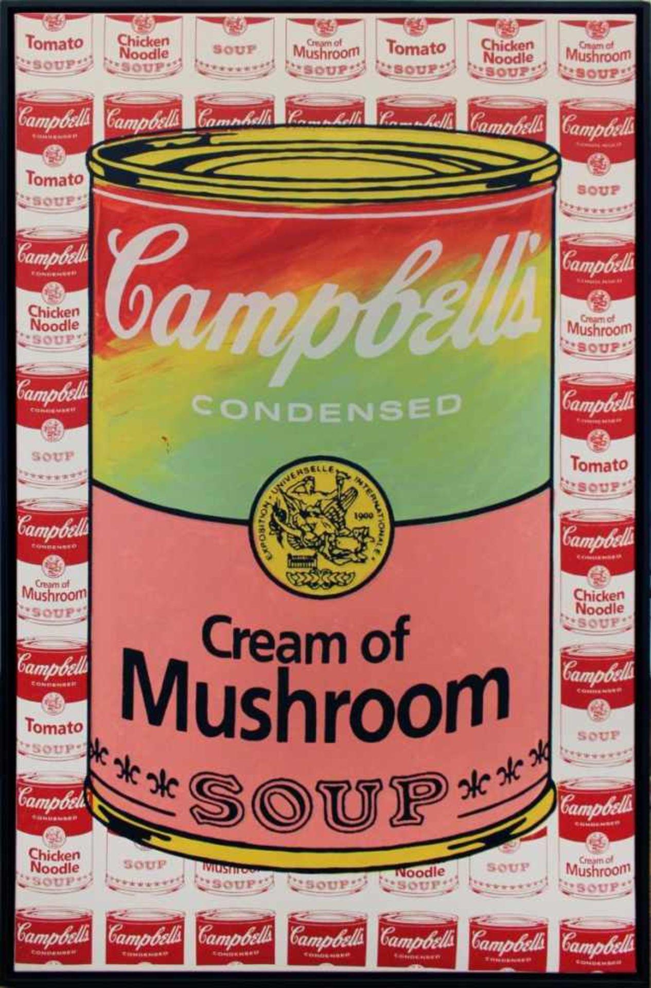 Los 35 - Kaufman Steve (1960-2010) Cream of Mushroom Soup Siebdruck und Öl auf Leinwand handsigniert und