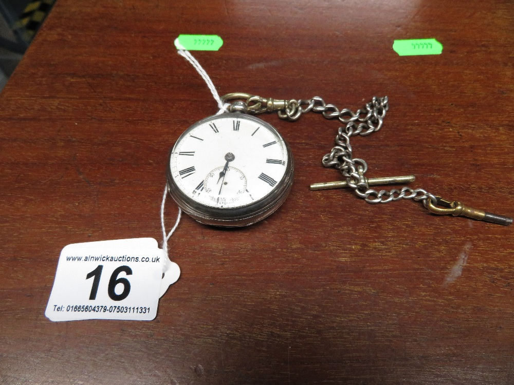 Lot 16 - Silver pocket watch and chain