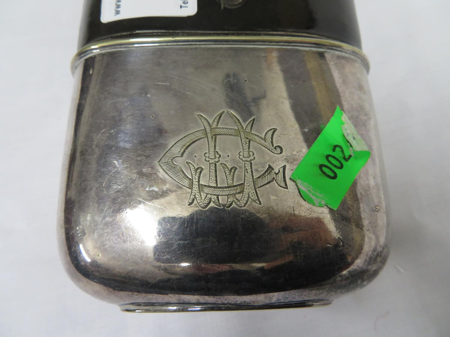 Lot 16 - EPMS and leather & glass hip flask