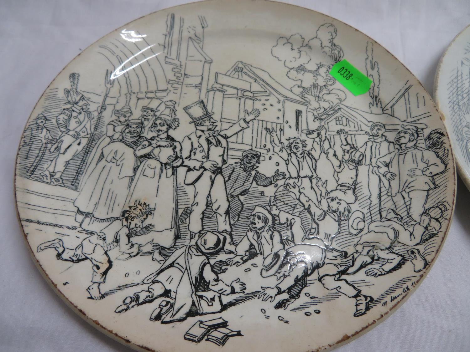 Lot 45 - 2x humorous French Creilette Montereau plates