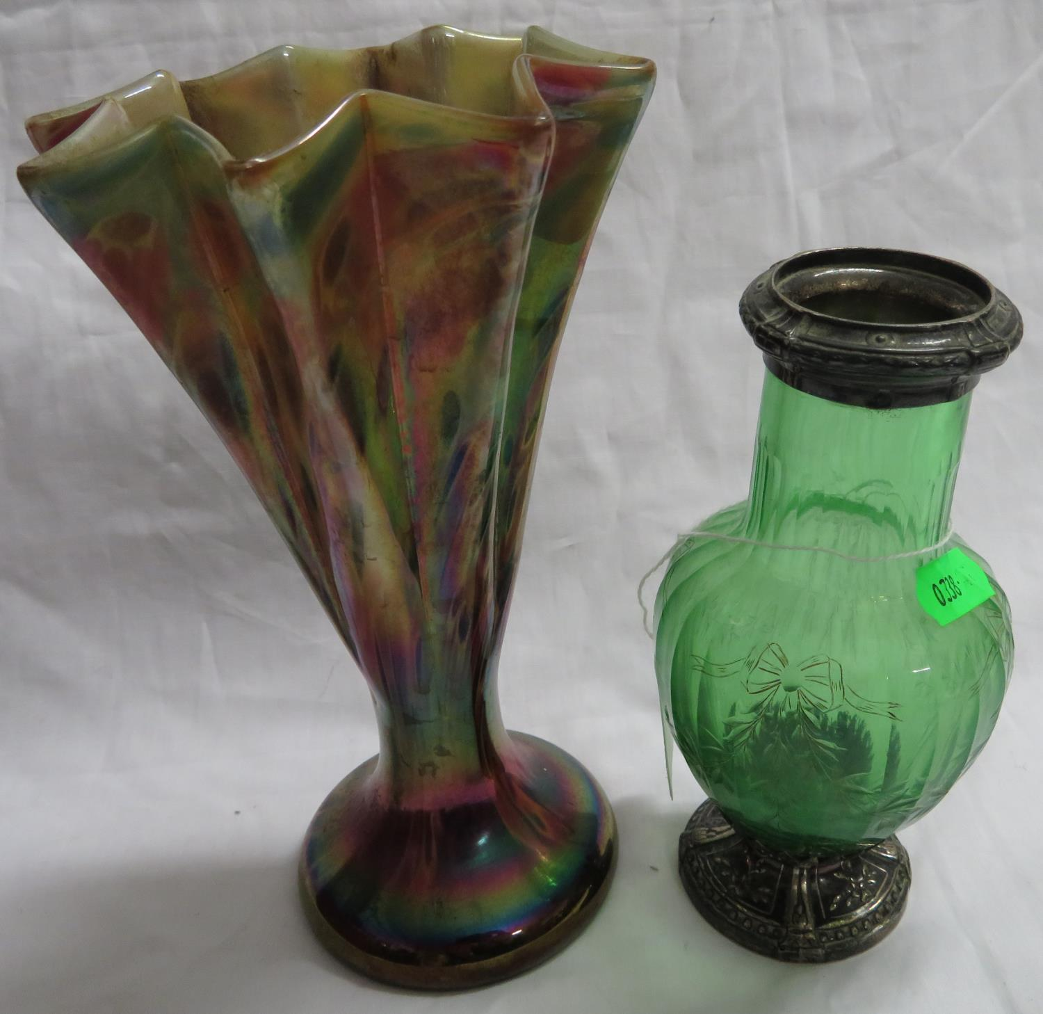 Lot 32 - Lertz?? vase and one other cut glass silver hallmarked rimmed vase