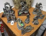 Lot 56 - Collection of pewter dragon and wizard figures by J. Ascough