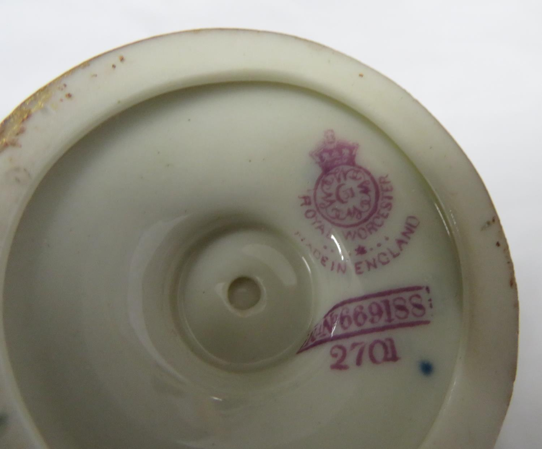 Lot 3 - Royal Worcester signed Stinton Highland Cattle urn (damaged lid)
