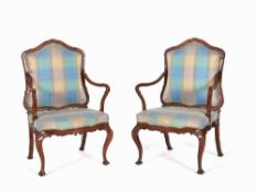 Pair of Armchairs with Curved Shapes, Italy, 18th C. Walnut, solid, cut, textile covering Italy,