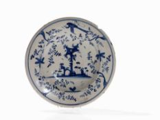 Maiolica Dish with Blue-White-Décor, Italy, 18th Century Maiolica, white glaze with blue paintingh