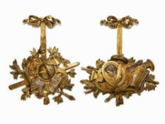 Louis XVI, Important Pair of Trophies, France, 18th C. Wood, carved, gilded in four colors of
