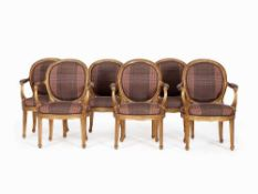 Set of Six Fauteuils, Lucca, around 1780 Solid wood, carved, chalk primed and gold-plated, checkered