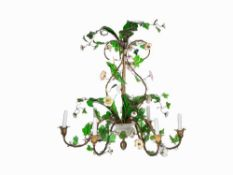 J. & L. Lobmeyer, 6-Flame Floral Chandelier, Austria, c. 1850 Metal, brass-plated, glass,