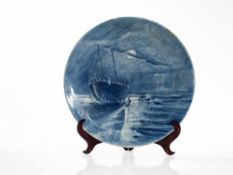 Large Wall Plate with Maritime Moonlight Scene, Germany, 20th C White glazed faience with blue