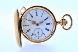 Viertelstundenrepetierer Goldene Taschenuhr mit Springdeckel und Viertelstundenschlagwerk und