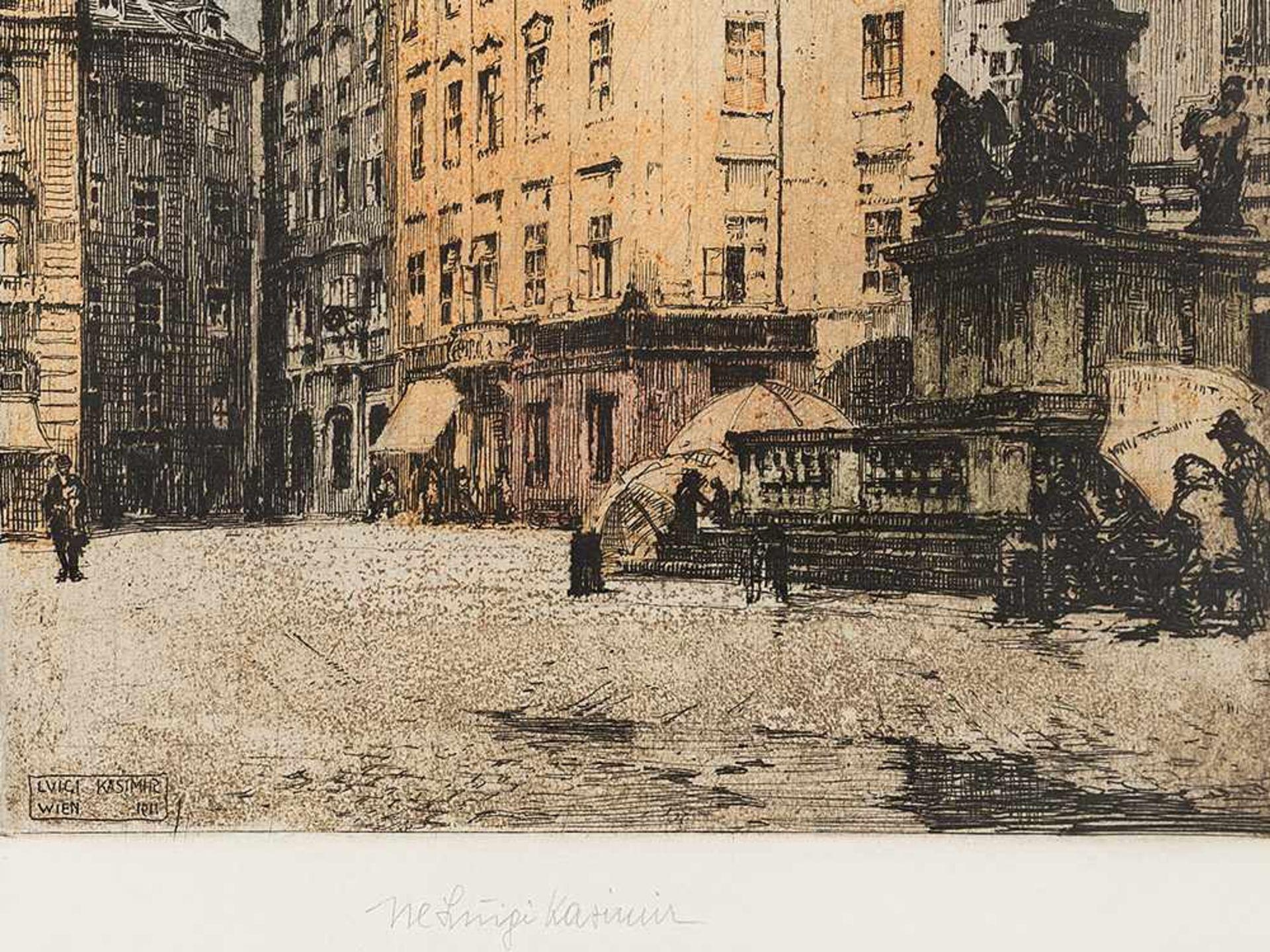 Los 73 - Luigi Kasimir, Mariensäule Am Hof, Farbradierung, Wien, 1911 Farbradierung auf Velin. Luigi