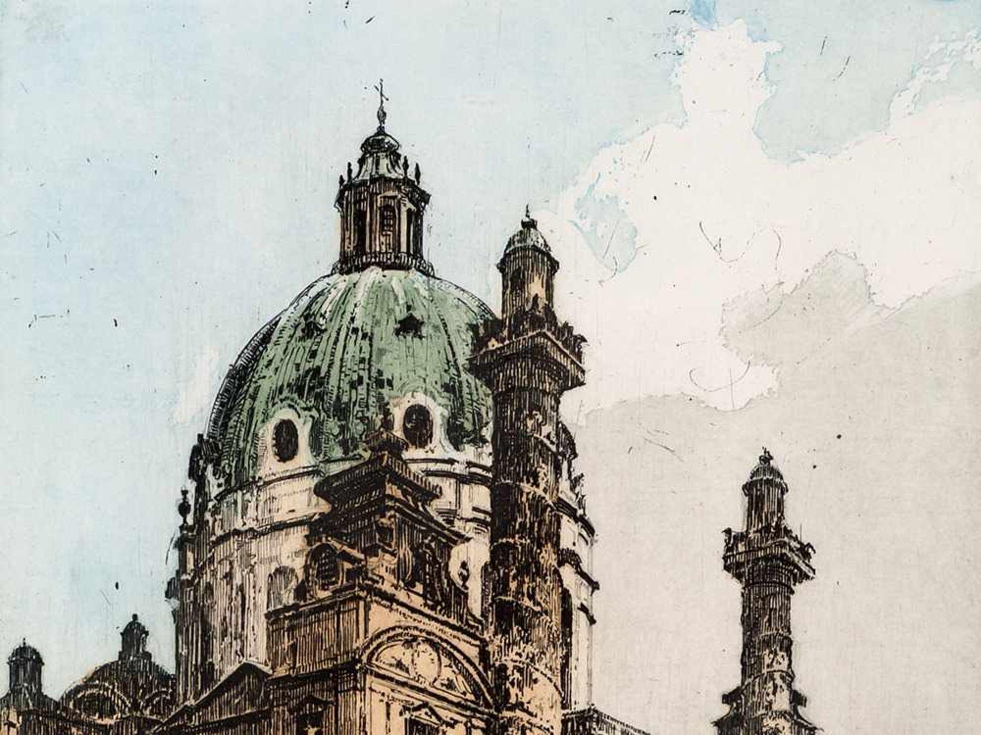 Los 74 - Luigi Kasimir, Blick auf die Karlskirche, Radierung, Wien, 1911 Farbradierung auf Velin. Luigi