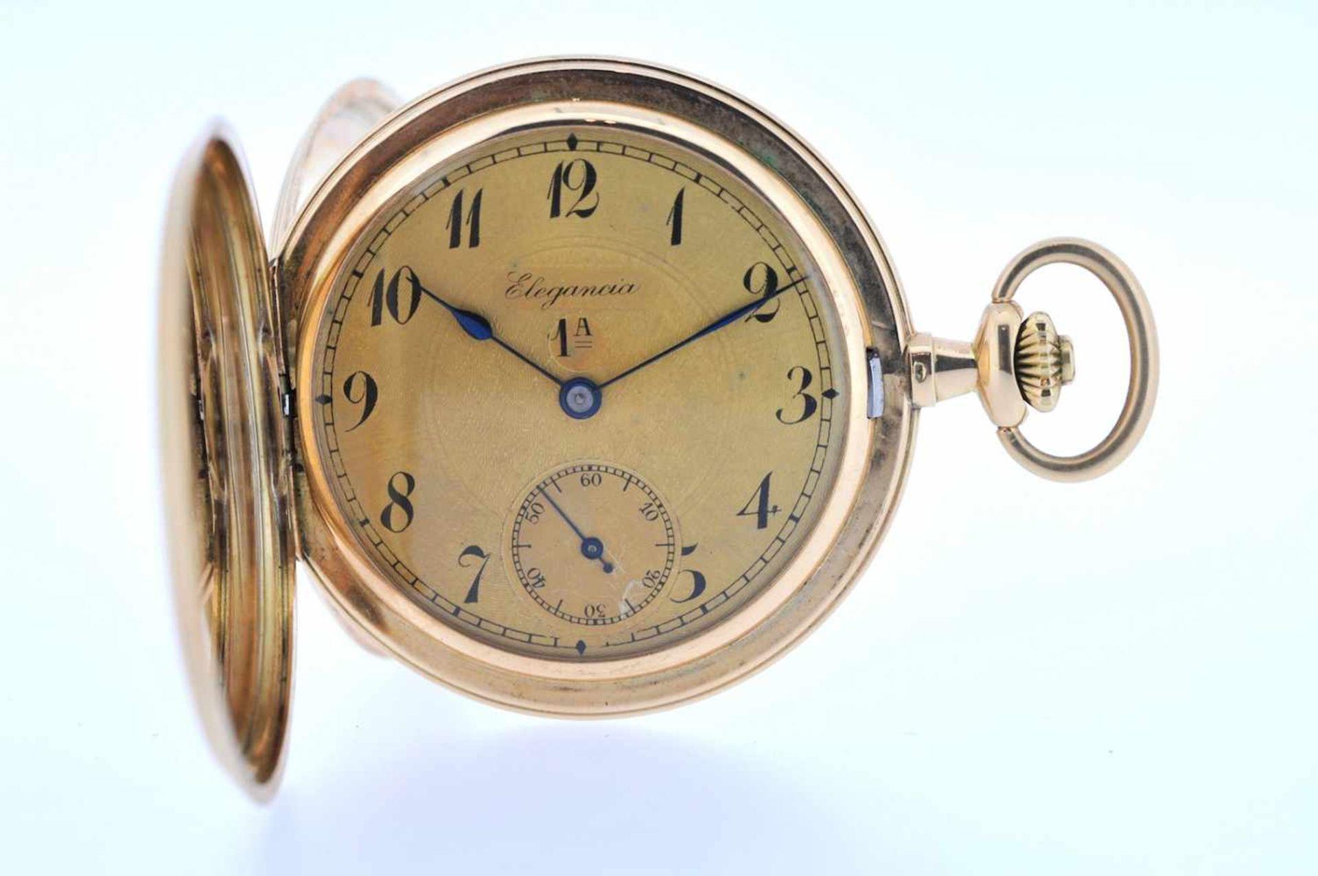 Los 29 - Goldene Herrentaschenuhr Goldene Herrentaschenuhr mit kleiner Sekunde, Elegancia, Breguetspirale,