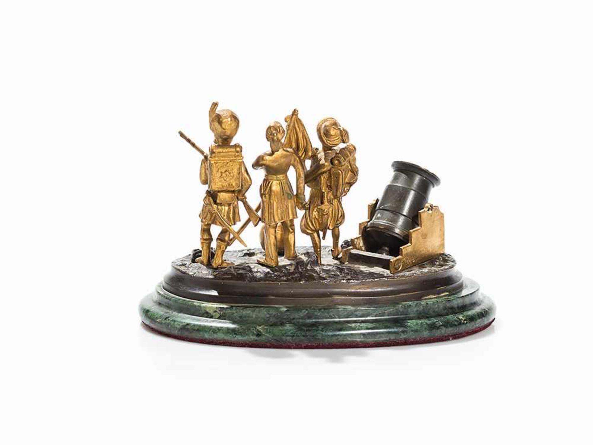 Los 102 - Militärische Figurengruppe aus Bronze, Griechenland, 19. Jh. Bronze, teils vergoldet und dunkel
