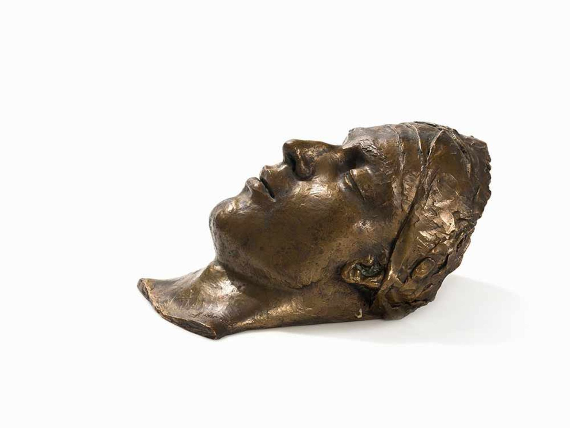 Los 92 - Manolo Pascual (1902-1983), Junger Mann (Totenmaske), 20. Jh. Bronze, patiniert. Wohl USA, 2. Hälfte