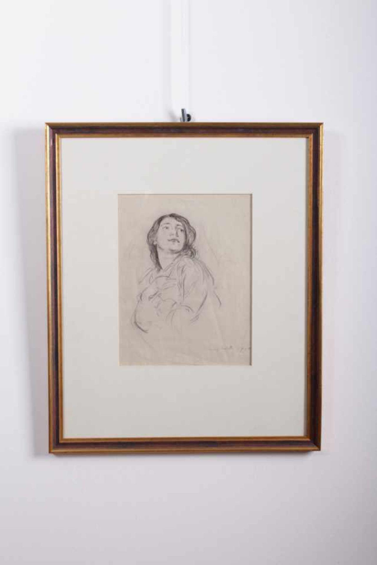 Los 55 - Louis Corinth 1858-1925, Zeichnung eines Damenportraits, Kreide auf Papier, signiert unten rechts,