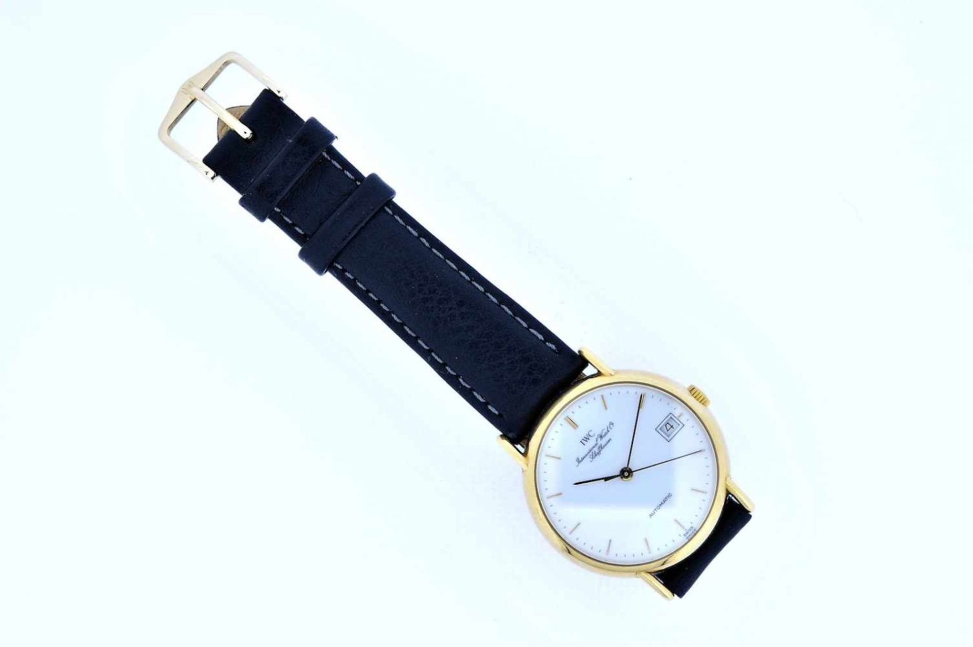 IWC Goldene 18karätige Armbanduhr an Lederband, IWC, Automatik, zentrale Sekunde, Ankerwerk,