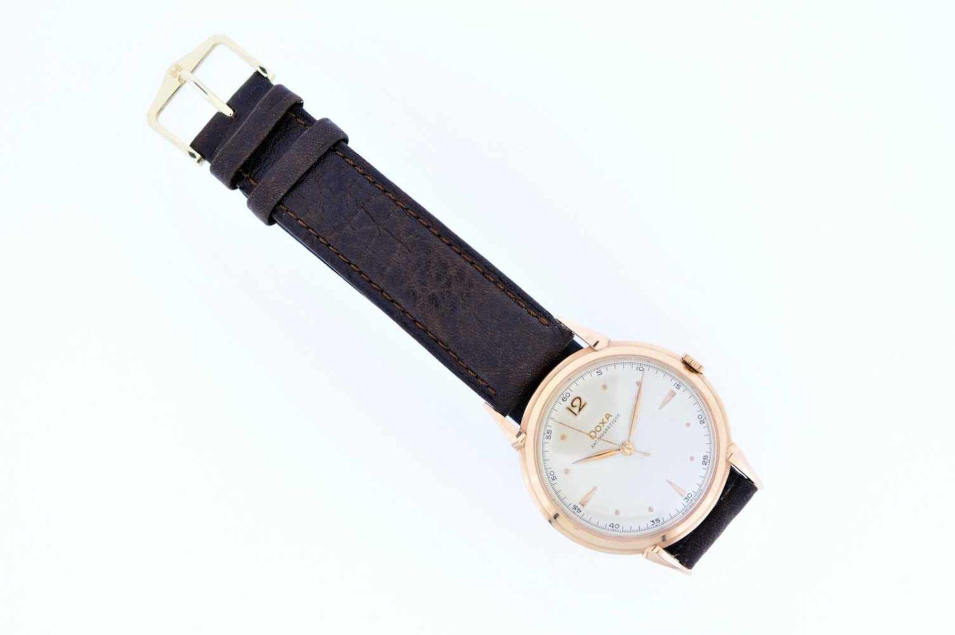 Los 24 - Doxa Roségoldene Armbanduhr an Lederband, Doxa Antimagnetique, Handaufzug, Ankerwerk,