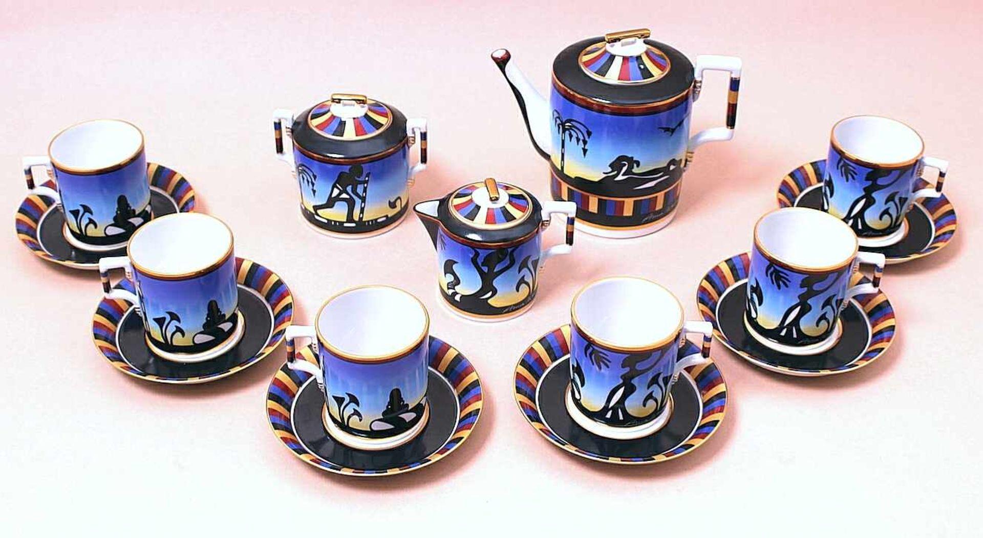 """Los 2 - Teeservice Teeservice """"Aida"""" wurde von Anna Netrebko persönlich entworfen und bemalt, Zertifikat"""