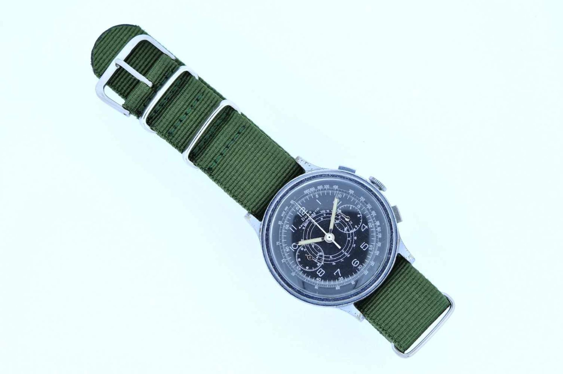 Los 19 - Doxa Edelstahl Armbanduhr an Textilband, Doxa Anti-Magnetic, Fliegerchronograph, Stoppfunktion,