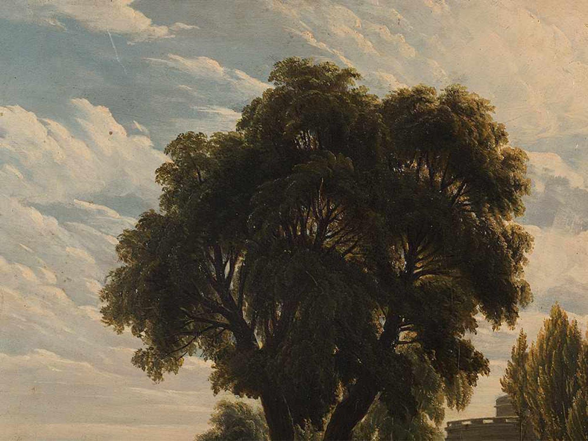Los 61 - Arkadische Landschaft, Ölgemälde, Römische Schule, 19. Jh. Öl auf holz. römische Schule, 2.