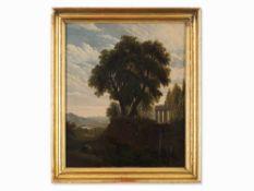 Arkadische Landschaft, Ölgemälde, Römische Schule, 19. Jh. Öl auf holz. römische Schule, 2.