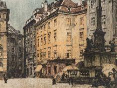 Luigi Kasimir, Mariensäule Am Hof, Farbradierung, Wien, 1911 Farbradierung auf Velin. Luigi