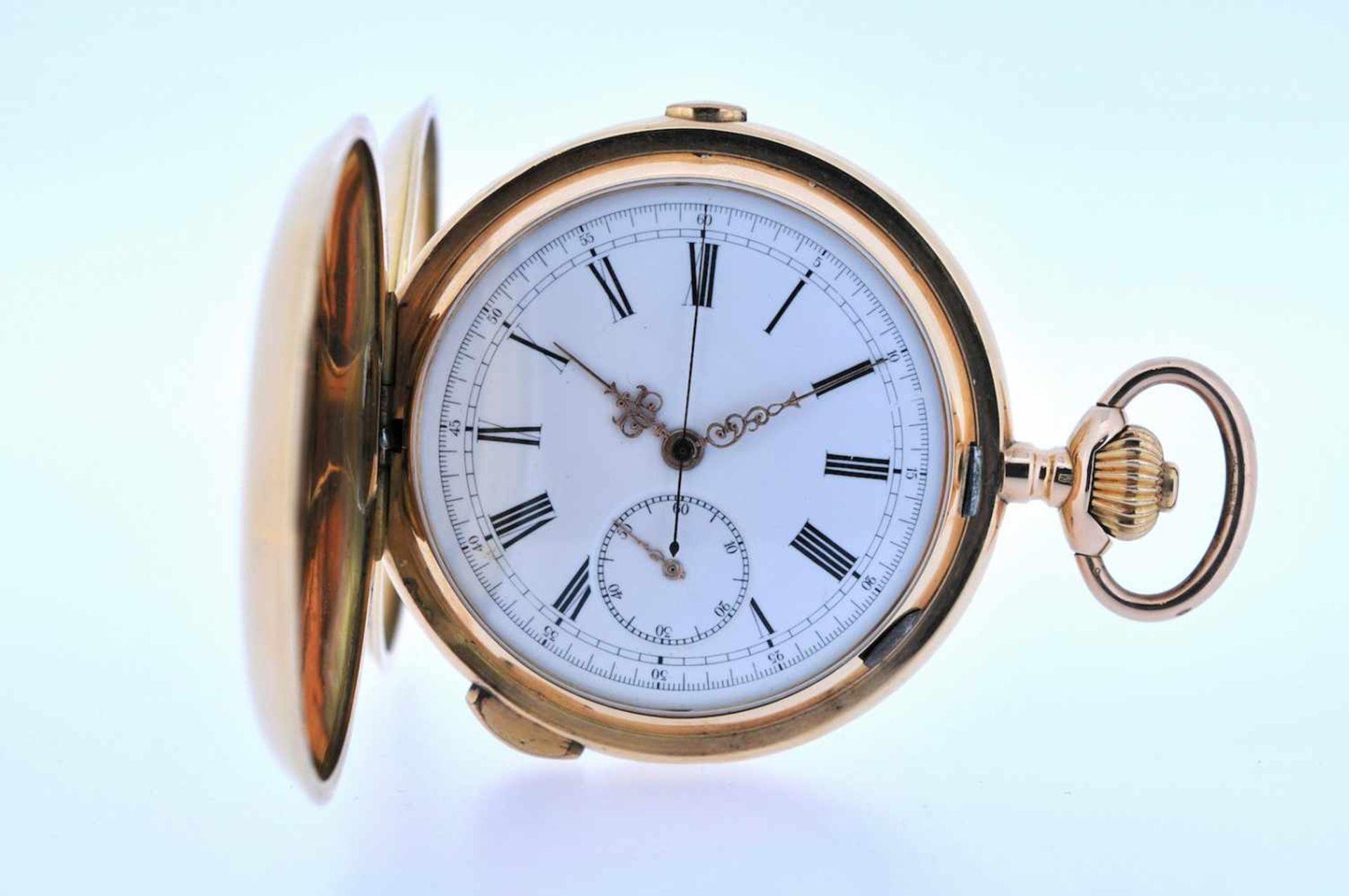 Los 30 - Viertelstundenrepetierer Goldene Taschenuhr mit Viertelstundenschlagwerk, kleiner Sekunde und