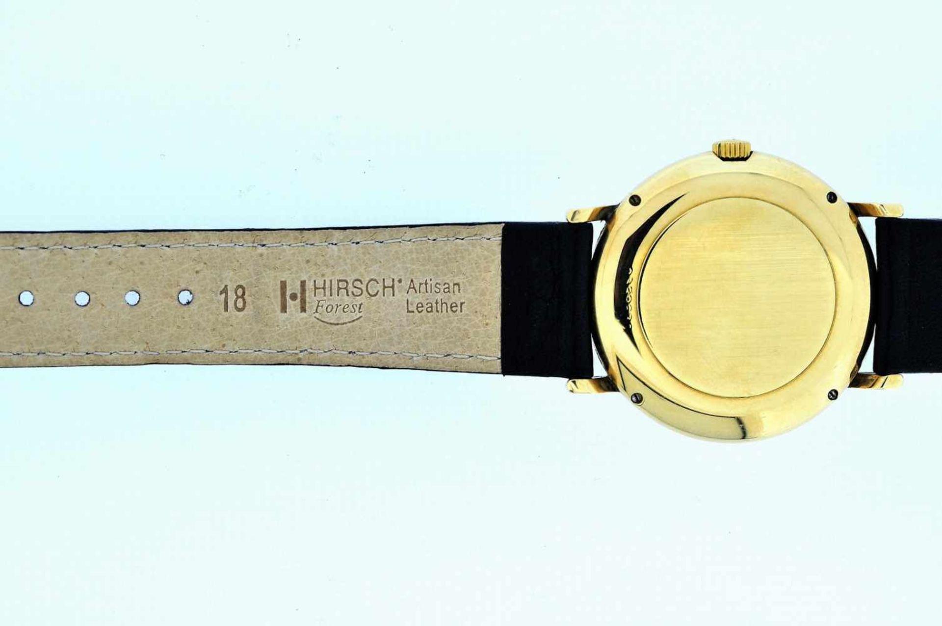 IWC Goldene 18karätige Armbanduhr an Lederband, IWC, Automatik, zentrale Sekunde, Ankerwerk, - Bild 3 aus 4