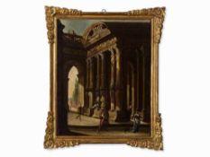 Italienische Schule, Architekturcapriccio, Öl, 17. Jahrhundert Öl auf Leinwand, doubliert. italien,