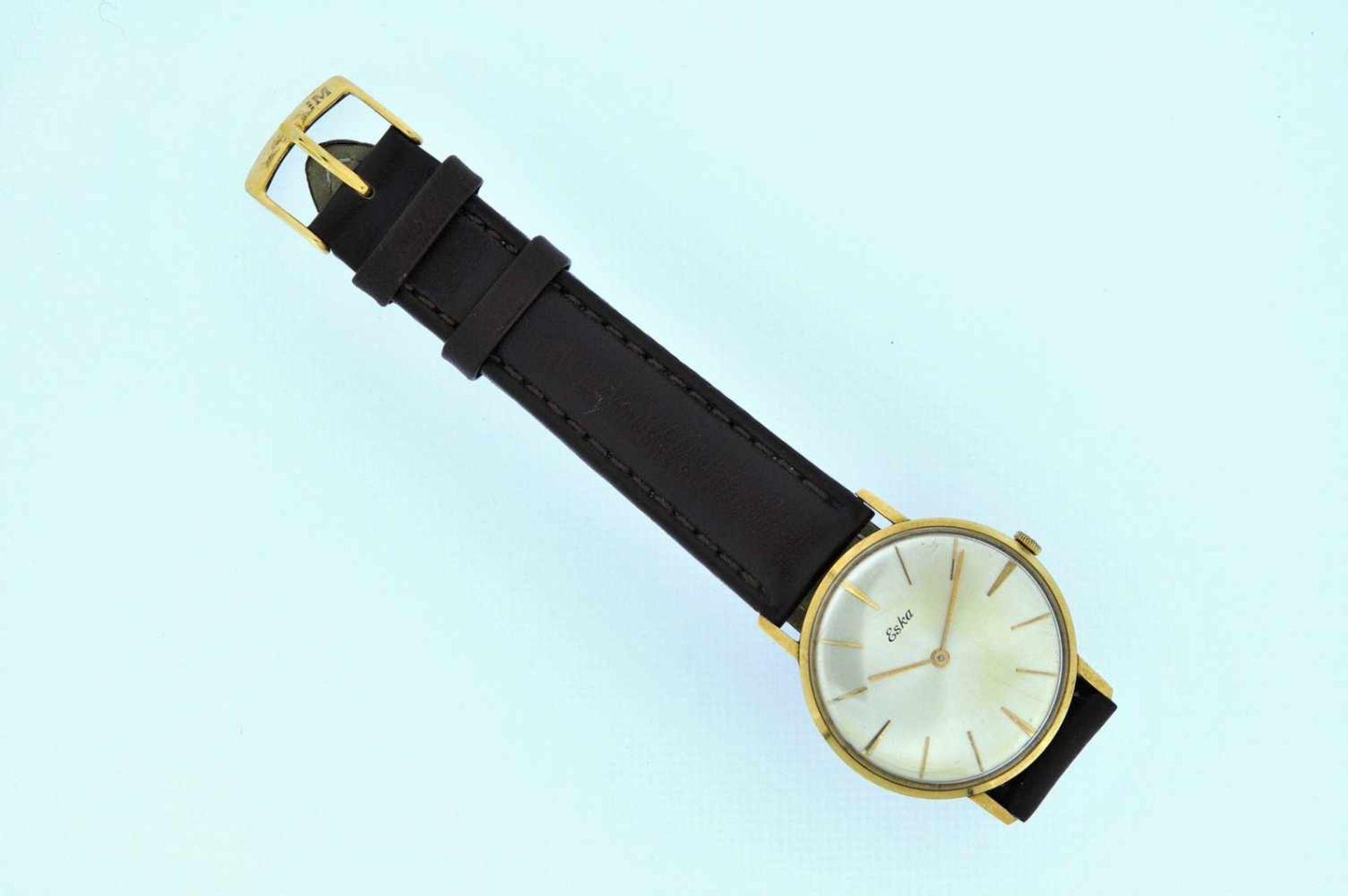 Eska Goldene Armbanduhr an Lederband, Eska, Handaufzug, Ankerwerk, Werkservice empfohlen, 28,1 g. - Bild 6 aus 6