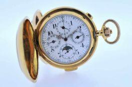 Minutenrepetierer Goldene 18 karätige Taschenuhr mit Minutenschlagwerk, Stoppfunktion,