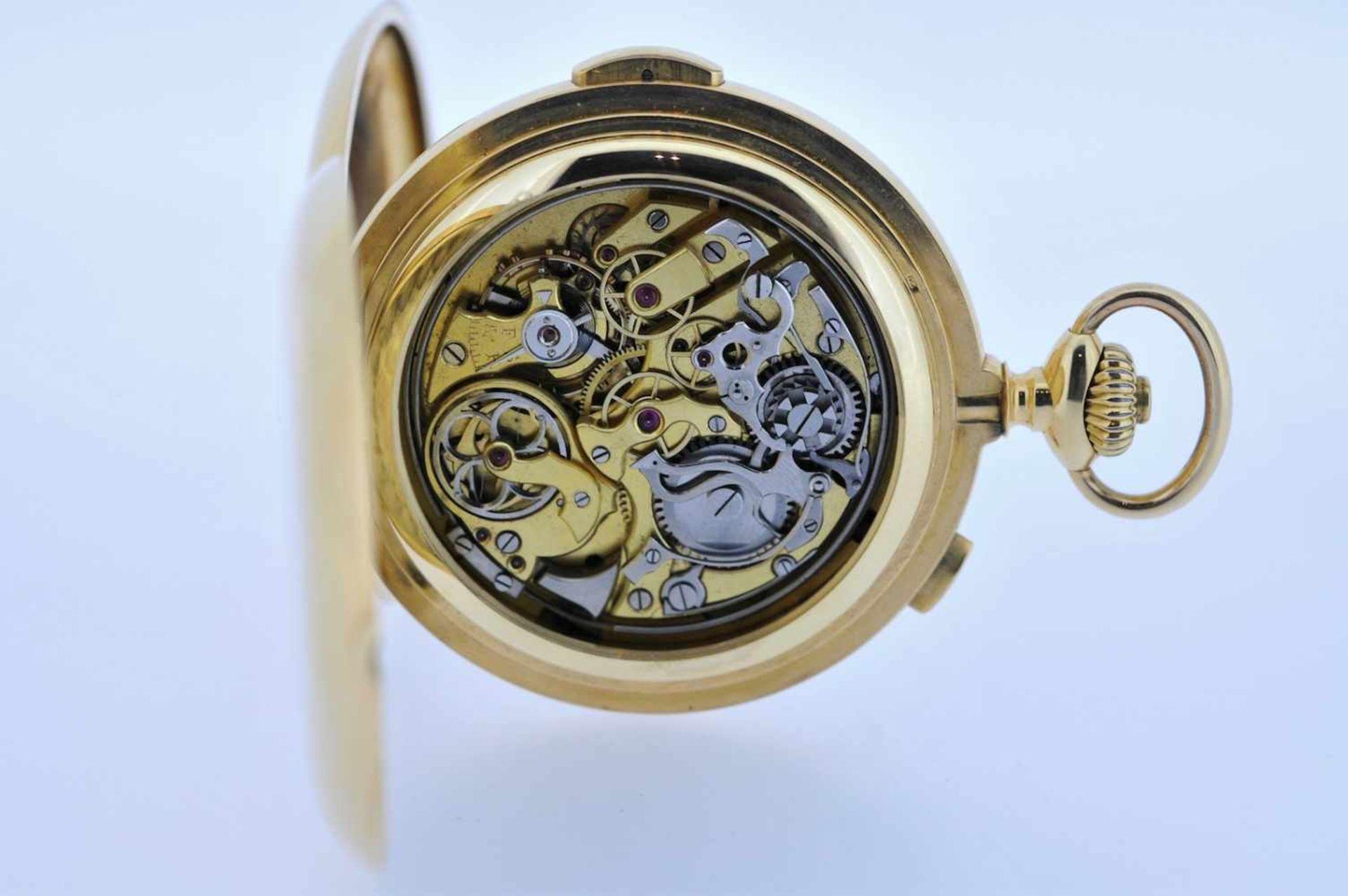 Los 34 - Minutenrepetierer Goldene 18 karätige Taschenuhr mit Minutenschlagwerk, kleiner Sekunde und