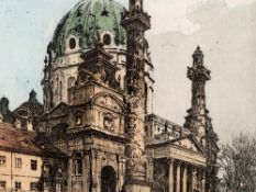 Luigi Kasimir, Blick auf die Karlskirche, Radierung, Wien, 1911 Farbradierung auf Velin. Luigi