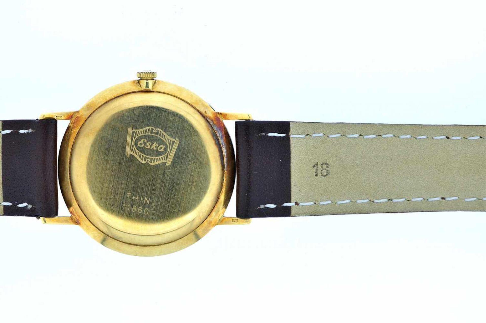 Eska Goldene Armbanduhr an Lederband, Eska, Handaufzug, Ankerwerk, Werkservice empfohlen, 28,1 g. - Bild 5 aus 6