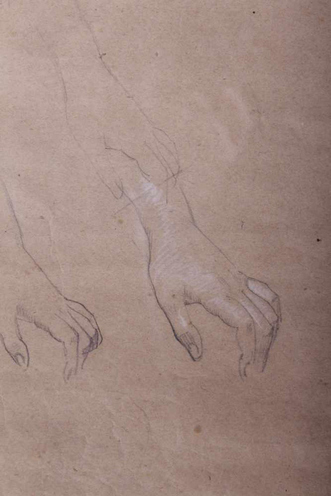 Los 56 - Gustav Klimt 1862-1918, Handstudien, Bleistift, weiße Kreide auf Papier, Holzrahmen, hinter Glas,