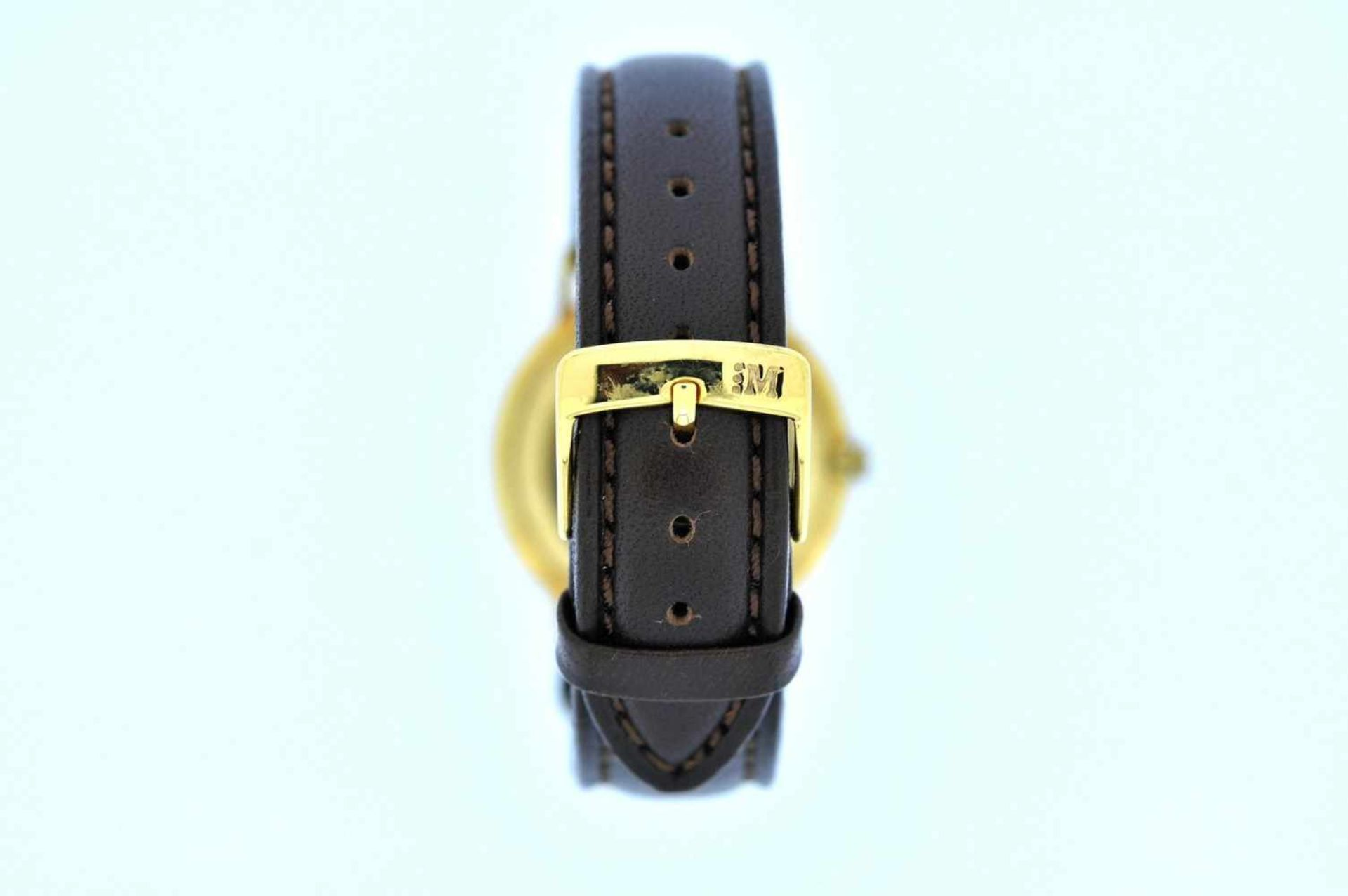 Eska Goldene Armbanduhr an Lederband, Eska, Handaufzug, Ankerwerk, Werkservice empfohlen, 28,1 g. - Bild 4 aus 6