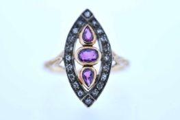 Ring Goldener Ring mit Diamanten, zus. ca. 0,15 ct, und Rubine, zus. ca. 0,5 ct, Ringweite 53, 4,2