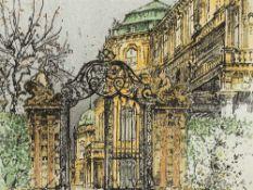 Robert Kasimir, Schloss Belvedere, Radierung, Mitte 20. Jh. Farbradierung auf Velin. Robert