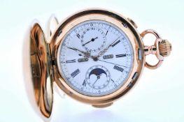 Minutenrepetierer Goldene Taschenuhr mit Springdeckel und Viertelstundenschlagwerk und kleiner