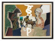 Milo Reice, Young Aeskulapius, Mischtechnik, 1991 Mischtechnik aus Gouache, Collage und Ton auf
