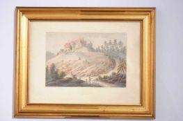 Tina Blau Bunte Lithographie von Tina Blau, Landschaft mit Schloss, Maße 17 x 11 cm, in