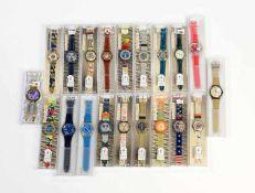 Swatch, 20 Herrenuhren (1x Taschenuhr), Swiss made, Okt Z 1, Z 1 Swatch, 20 Men's Watches (1x Pocket