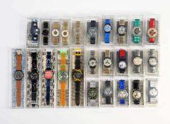 Swatch, 25 Uhren inklusive Raritaeten, Swiss made, bitte besichtigen, OVP, unbenutzte Sammlerstuecke
