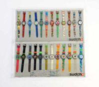 Swatch, 2 Displays mit 24 Uhren, Swiss made, neuwertig Swatch, 2 Displays with 24 Watches, Swiss