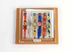 Swatch, Artist Set 6 Uhren, Swiss made, Box 30x29 cm, Okt Z 1, Z 1 Swatch, Artist Set 6 Watches,