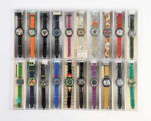 Swatch, 20 Automatic + Scuba Uhren, Swiss made, OVP, unbenutzte Sammlerstuecke Swatch, 20